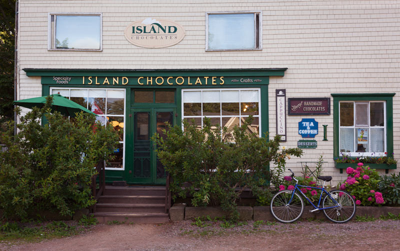 island chocolate shop with bicycle in front