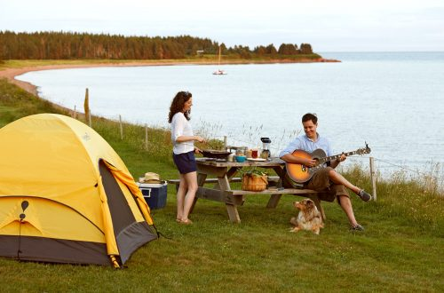 two people beside a lake with a tent, playing guitar